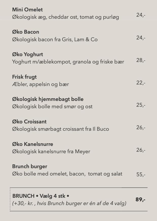 Brunch menu ... du kan også vælge slowjuice og kaffe hertil
